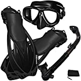 Promate Snorkel Set Scuba Dive Mask w/Purge Dry Snorkel Fins Gear Set, AllBlack, MLXL
