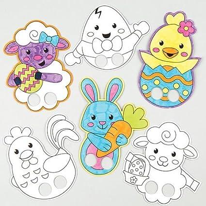 Baker Ross Marionetas De Dedos De Pascua Para Colorear