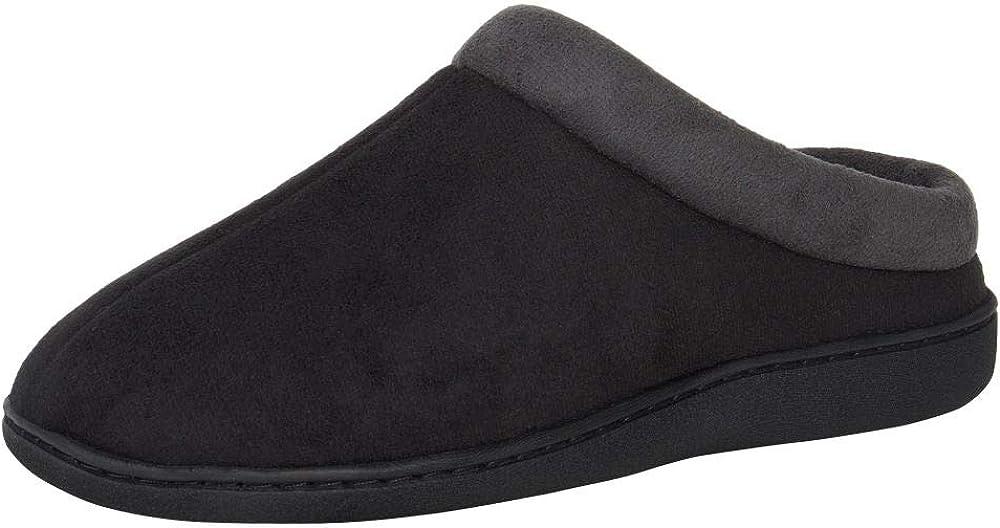 Hanes Men's Memory Foam Indoor Outdoor Microsuede Clog Slipper Shoe with Fresh Iq