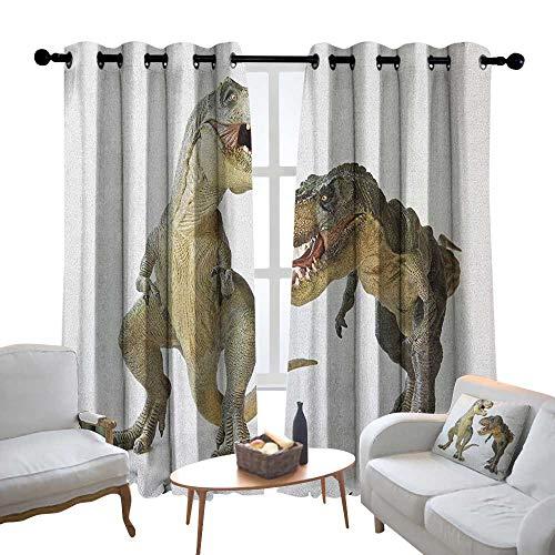 Lewis Coleridge Pattern Curtains Dinosaur,Tyrannosaurus Rex Pair Facing Off Ferocious Creatures Prehistoric Predators, Ivory Brown Grey,Living Room and Bedroom Multicolor Printed Curtain Sets - Rooster Facing Pull