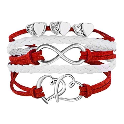 (ShinyJewelry Infinity Double Heart Love Wrap Red Leather Bracelets )