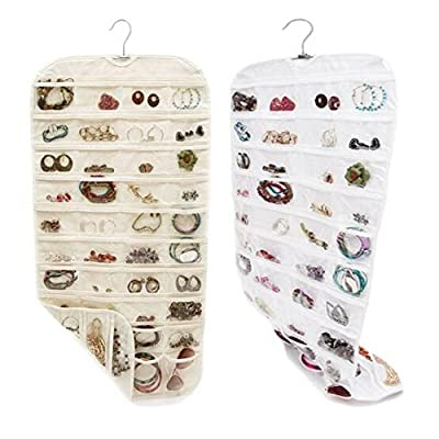 good 80 Pockets Hanging Jewelry bag Display Earring Rings Bracelets Storage Bags