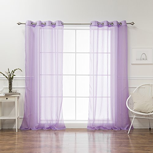Best Home Fashion Crushed Voile Sheer Curtains - Antique Bronze Grommet Top - Purple - 52