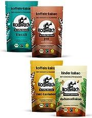 koawach Familienset - Kakao mit und ohne Koffein aus Guarana - Wachmacher Kakaos im Set (4x Kakaopulver à 100g) - Neues Design