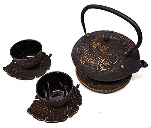 Happy Sales Cast Iron Tea Set Imperial Dragon Black & Gold