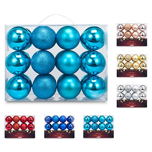 AMS 24ct 80mm/3.14 Diam Christmas Ball Pendant Ornaments Hanging Trees Pretty Decorations with Reusable Hand-help Gift Boxes (Turquoise)