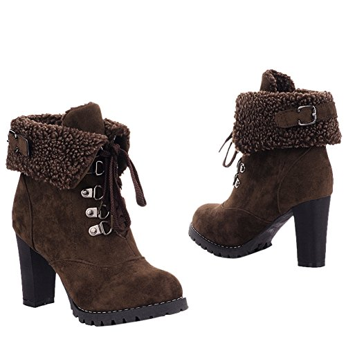 Lauce Warm Womens fereshte Lined Ankle Brown Military Up Fur Faux Winter Boots 450w0q