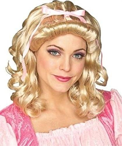 Girls Storybook Blonde Wig (Blonde Storybook Girl Curly Character Wig with Pink Ribbon)