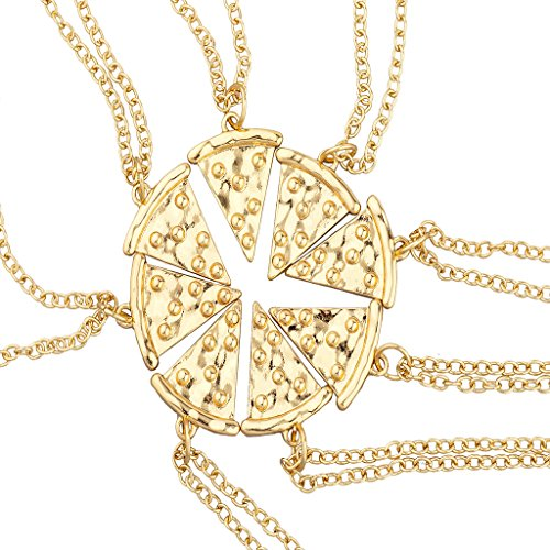 Lux Accessories Goldtone BFF Best Friends Forever Pizza Pie Slice Necklace 8PC (Pizza Best Friend Necklaces)