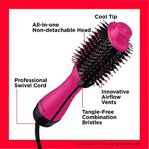 REVLON One-Step Hair Dryer and Volumizer Hot Air Brush, Pink