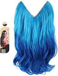 Amazon blue hair extensions extensions wigs creamily light blue to dark blue 14 ombre dip dye secret pmusecretfo Images