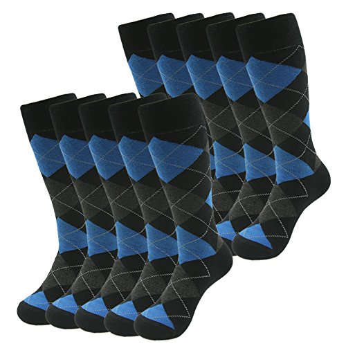 Wedding Groomsmen Socks, SUTTOS Mens Blue Argyle Casual Crew Socks Moisture Wicking Elite Nordic Diamond Sharp Plaids Fashion Pattern Socks, Halloween Deals Fun Mid Calf Long Tube Groomsmen Wedding Summer Dress Suit Socks 10 Pairs -