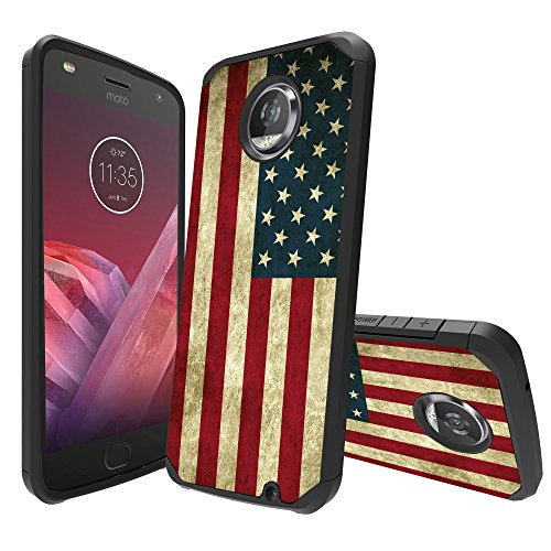 MINITURTLE Case Compatible with Motorola Moto Z2 Play / Z2 Force Case[Impact Resistant Silicone Interior][Slim][2-Part Protection] - American Flag