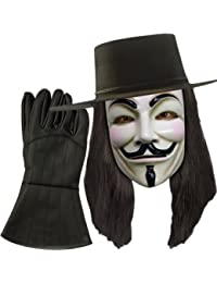 V for Vendetta Hat, Mask, Wig, Gloves Combo Costume Officially Licensed