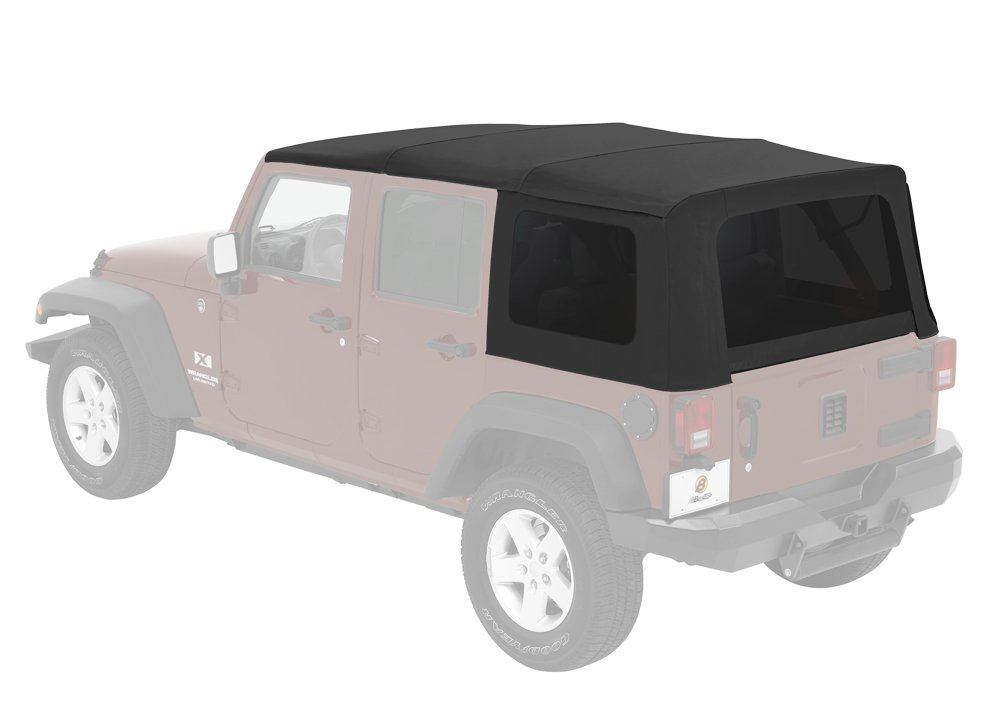 Bestop 54823-17 Supertop NX Black Twill Complete Replacement Soft Top w/ Tinted Windows for 2007-2018 Wrangler 4-Door