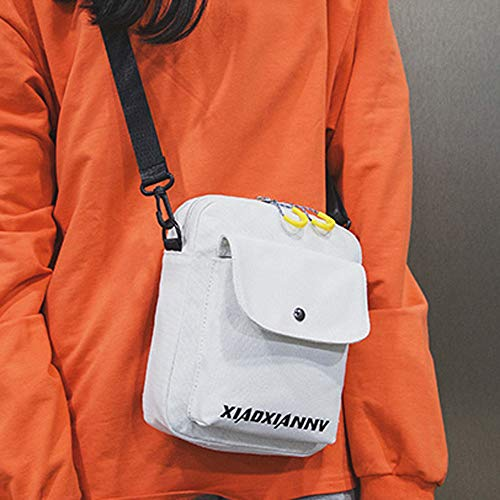 Para Cuadrado Billetera Blanco De Monedero Pequeño Bandolera Sylar Mujer Sólido Mini Mensajero Paquete Simple Bolso Lienzo Bolsa Color Moda tETU66qwx