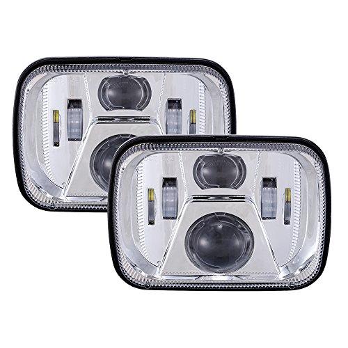 DOT 110W Rectangular Sealed High Low Beam 5x7 7x6 Inch LED Headlights For Jeep Wrangler YJ Cherokee XJ Comanche MJ GMC Savana Safari Ford Chevrolet Replacement H6014 H6052 H6054 (Chrome)