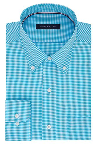Tommy Hilfiger Men's Big and Tall Non Iron Regular Fit Gingham Buttondown Collar Dress Shirt, Aqua, 18.5