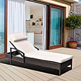 Tangkula Patio Chaise Lounge, Outdoor Reclining Wicker Rattan Chaise, Beach Pool Yard Porch Adjustable Backrest Lounger Chair