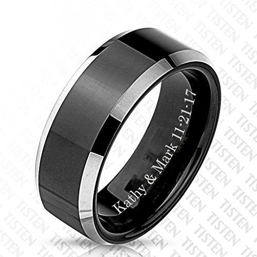 - Personalized Men's Tungsten & Titanium Tisten Matte Black Center Silver Stepped Edges Ring Custom Engraved