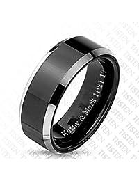 Personalized Men's Tungsten & Titanium Tisten Matte Black Center Silver Stepped Edges Ring Custom Engraved