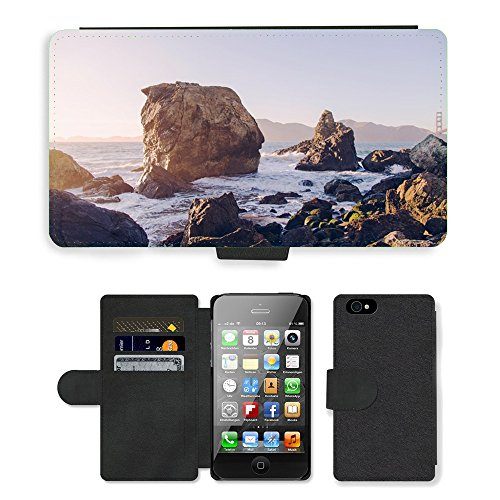 PU Leather Cover Custodia per // M00421775 Vagues Côte Shore eau de mer de l'océan // Apple iPhone 4 4S 4G