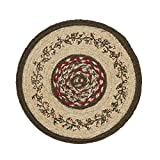 VHC Brands Christmas Holiday Tabletop & Kitchen-Holly Berry Jute Red Stenciled Round Tablemat Set of 6