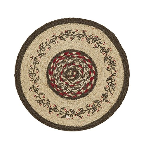 VHC Brands Christmas Holiday Tabletop & Kitchen-Holly Berry Jute Red Stenciled Round Tablemat Set of (Holly And Berries)