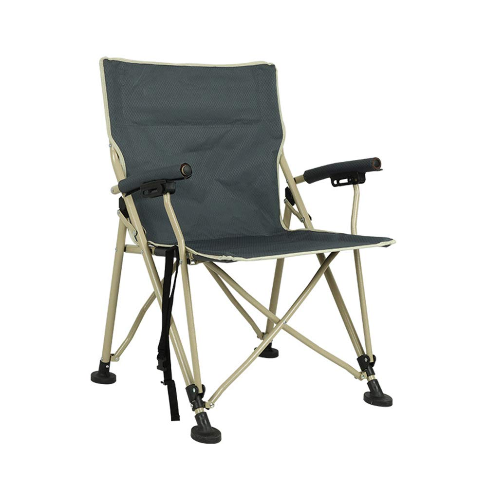 ZHANGJN Outdoor Portable Fishing Chairs Ultralight Folding Camp Chair with Armrest for Festival, Beach, Hiking-Grey by ZHANGJN