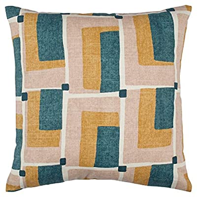 "Rivet Mid-Century Geo Print Cotton Decorative Throw Pillow, Soft and Stylish, 17"" x 17"", Blush - Bring mid-century flair into your home with retro prints and colors. Patterns of blush, green, gold and ivory add a cheerful, interesting update to couch, chair or bed. For a quick change-up, reverse it to the solid blush linen-look back. 17"" x 17"" Front: Cotton; Back: Polyster - living-room-soft-furnishings, living-room, decorative-pillows - 519VKdWCrhL. SS400  -"