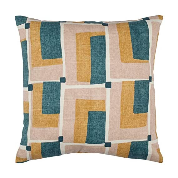 """Rivet Mid-Century Geo Print Cotton Decorative Throw Pillow, Soft and Stylish, 17"""" x 17"""", Blush - Bring mid-century flair into your home with retro prints and colors. Patterns of blush, green, gold and ivory add a cheerful, interesting update to couch, chair or bed. For a quick change-up, reverse it to the solid blush linen-look back. 17"""" x 17"""" Front: Cotton; Back: Polyster - living-room-soft-furnishings, living-room, decorative-pillows - 519VKdWCrhL. SS570  -"""