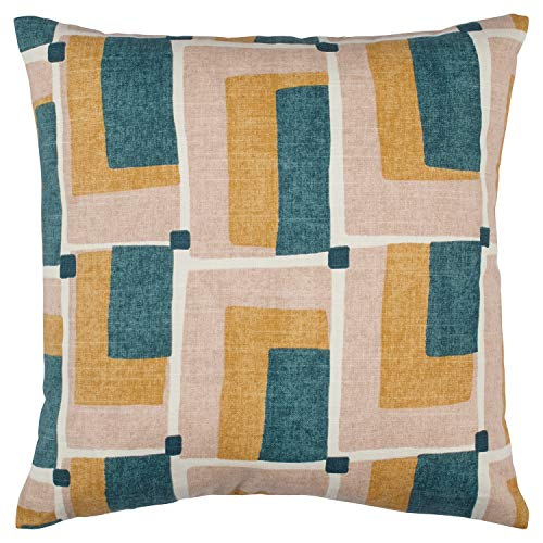 Rivet Mid-Century Geo Print Cotton Decorative Throw Pillow, Soft and Stylish, 17 x 17 , Blush