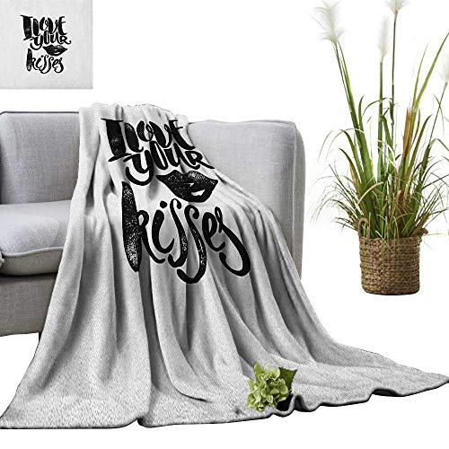 Superlucky Romantic Throw Blanket I Love Your Kisses Grungy Looking Phrase with Smiling Woman Black Lipstick Mark 30