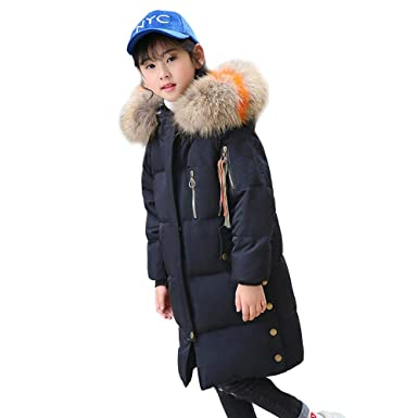 09b19059c315 Amazon.com  Girl s Down Parkas with Fur Hood White Duck Down Jacket ...