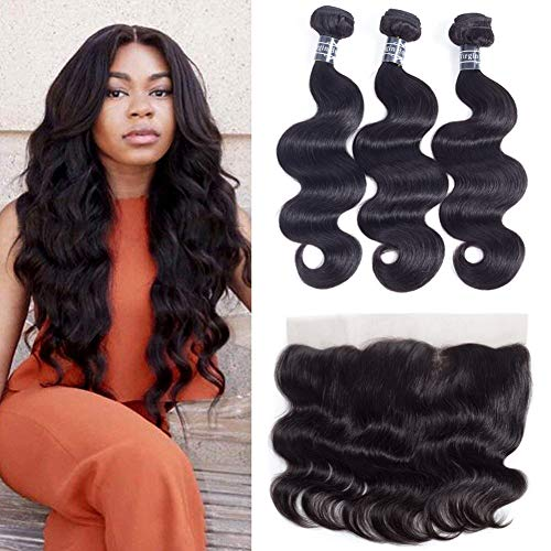 (Amella Hair Brazilian Body Wave with Lace Frontal(14 16 18+12 Frontal) 8A 100% Unprocessed Brazilian Body Wave Frontal with Baby Hair Top Brazilian Virgin Hair Lace Frontal Closure Natural Color)