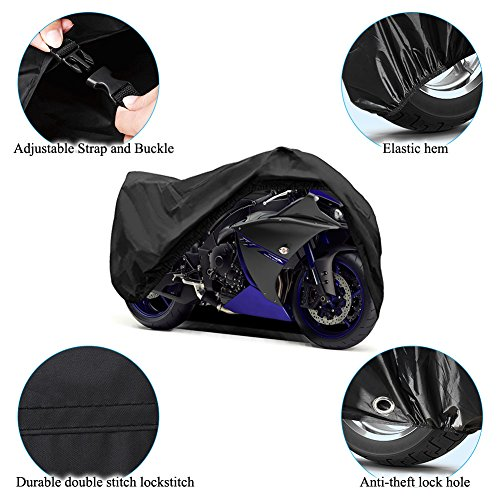 Motorcycle Cover Universal Fit Oxford Fabric Waterproof Breathable Rain Sun UV Dust Outdoor All Weather Protection with Lock Hole (Fits Motorbike up to 96'', Black) by LEDKINGDOMUS (Image #5)