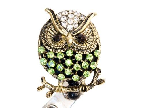 Rhinestone Owl Retractable Badge Reel/ Bling ID Badge Holder (Green)