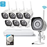 Zmodo 720p HD WiFi 8CH NVR Outdoor Weatherproof Video Surveillance Security Camera System 1TB Hard Drive