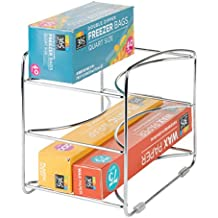 mDesign Kitchen Organizer Rack for Aluminum Foil, Sandwich Bags, Plastic Wrap - 3 Shelves, Chrome