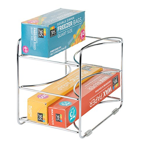mDesign Kitchen Organizer Rack for Aluminum Foil, Sandwich Bags, Plastic Wrap - 3 Shelves, Chrome (Sandwich Rack)