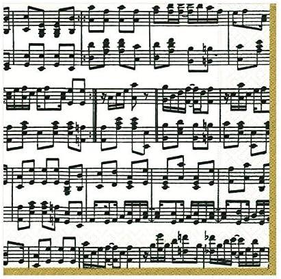 Caspari 11020C Papierservietten dreilagig, 20 Stück 24 x 24 cm, Musica