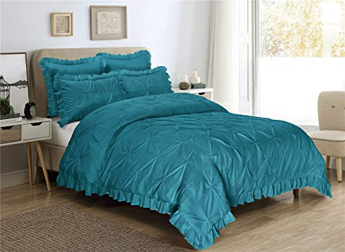 HIG 5 Piece Comforter Set Queen-Teal Color Microfiber Pinch Pleat Scallop Fringe -Hania Bedding Collection Queen Size-Soft, Hypoallergenic,Fade Resistant-1 Comforter,2 Standard Shams,2 Euro Shams (Pinch Pink Comforter Pleat)