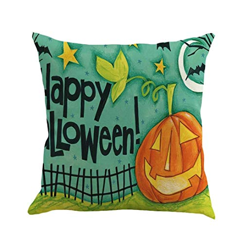 "Price comparison product image Gallity 18""x18"" Halloween Pillowcase Happy Halloween 45cmX45cm Pillow Cases Happy Fall Yall Linen Sofa Cushion Cover (A)"
