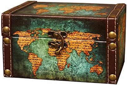 Cuasting Vintage almacenamiento decorativo maleta pequeña retro caja de madera ataúd caja de almacenamiento escritorio caja acabado muhe caja de joyería verde mapa: Amazon.es: Hogar