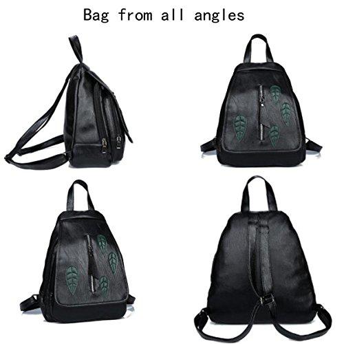 Suave Backpack Square Cuero Mrs Bag Bolsos Soft Moda Small De Leather Negro Black Sra De Bag Bolso Blac8k Salvaje Bolso Handbags Blac8k Cuadrado Wild Hombro De Mochila Shoulder Fashion Pequeño Z61Rdxw