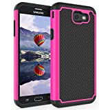 Office Products : For Samsung Galaxy J7 V / J7 2017 / J7 Prime / J7 Perx / J7 Sky Pro / Galaxy Halo Case, Asstar [Shock Absorption] Drop Protection Hybrid Armor Defender Dual Layer Protective Case Cover (Black+Rose)