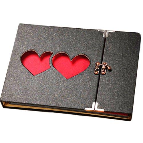 ARHSSZY 10inch Hollowed Heart Photo Album Memory Pictures Storage Holder Case Scrapbook Cover DIY Craft Wedding Graduation Birthday Baby Photo Ablum