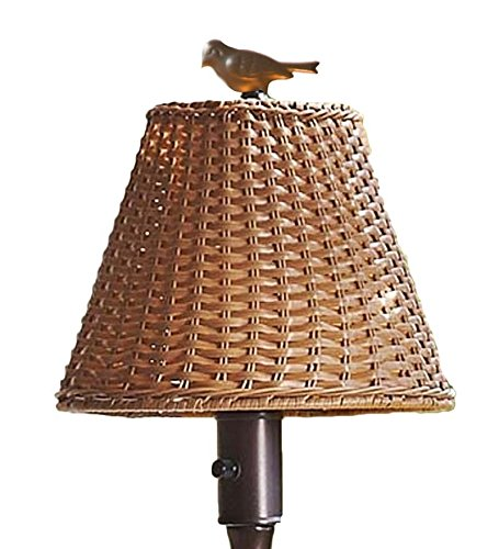 Plow & Hearth 39801-TN Waterproof Outdoor Wicker Floor Lamp, 16 3/4'' W x 61 1/2'' H, Tan