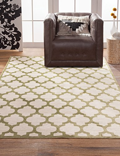 Abacasa Sonoma Trellis Area Rug, 5-Feet 3-Inch by 7-Feet 6-Inch, Apple Green/Ivory ()