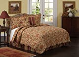 Walnut Cove Collection 2-Piece Cotton Quilt, Twin, Gold and Red
